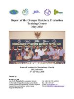 Report of the Grouper Hatchery Production Training Course, May 2003