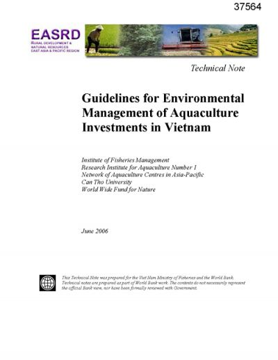 Guidelines for environmental management of aquaculture investments