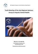 Report of the tenth meeting of the Asia Regional Advisory Group on Aquatic Animal Health, 19-20 November 2011