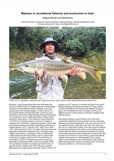 Mahseer in recreational fisheries and ecotourism in India