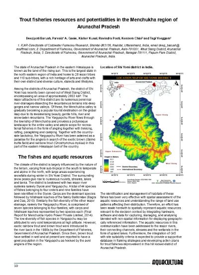 Trout fisheries resources and potentialities in the Menchukha
