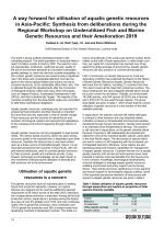 A way forward for utilisation of aquatic genetic resources in Asia-Pacific: Synthesis from deliberations during the Regional Workshop on Underutilized Fish and Marine Genetic Resources and their Amelioration 2019